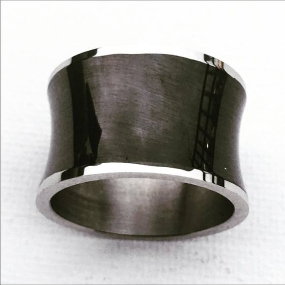 Stainless Steel Black Resin Band